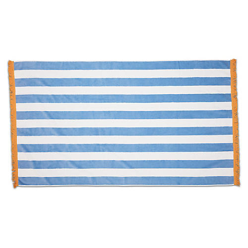 Cabana Fringed Beach Towel, Powder Blue/Yellow