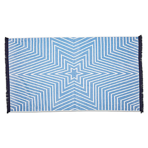 Celeste Fringed Beach Towel, Powder Blue/Navy