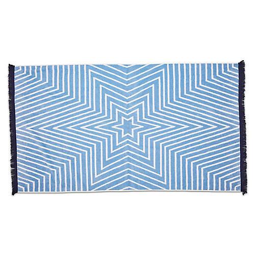 Celeste Fringed Beach Towel, Powder Blue/Navy