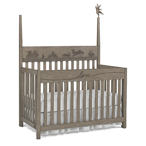 Forest Animal Crib, Natural Gray