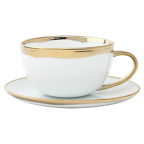Dauville Teacup & Saucer, White/Gold