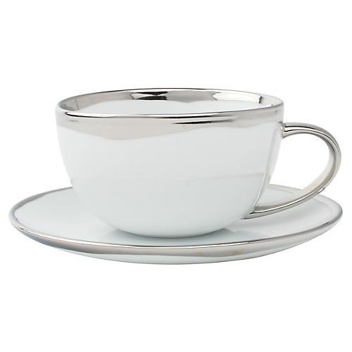 Dauville Teacup & Saucer, White/Platinum