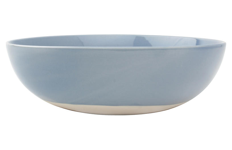 Shell Bisque Round Serving Bowl, Blue