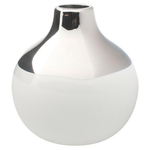 """4"""" Dauville Bud Vase, Platinum/White"""