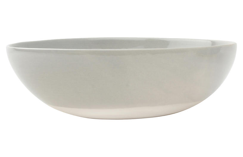 Shell Bisque Round Serving Bowl, Gray