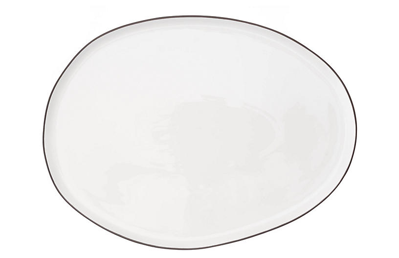 Abbesses Serving Platter, White/Blue