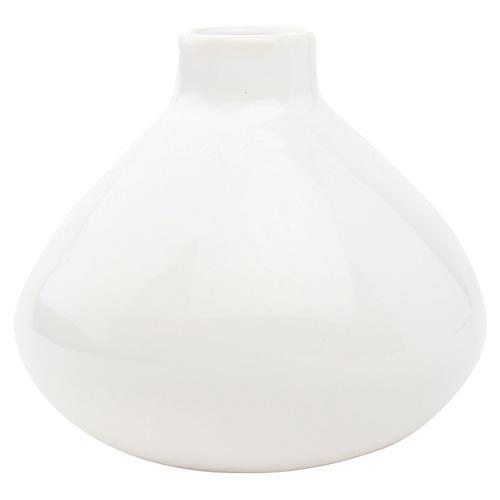 "4"" Morandi Wide Bud Vase, White"