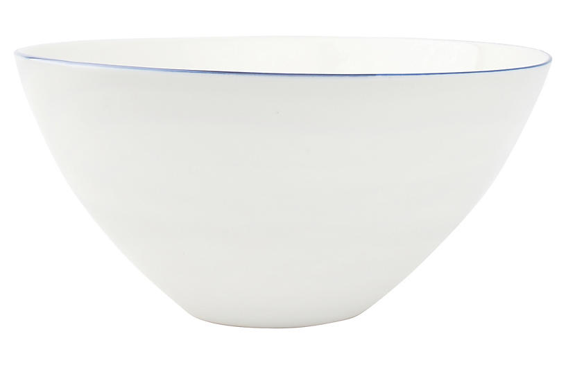 S/2 Abbesses Serving Bowls, White/Blue