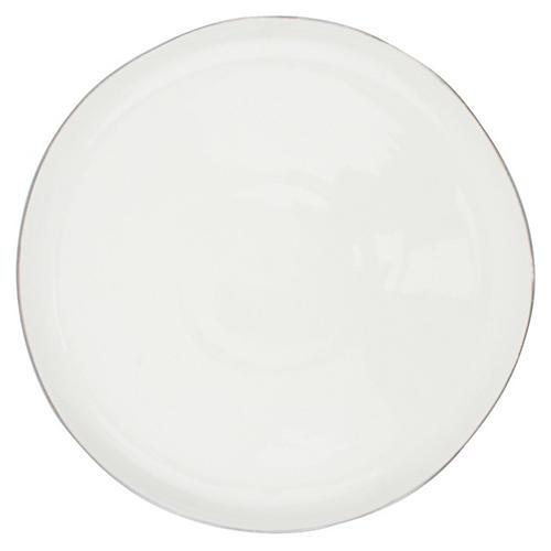 S/4 Abbesses Salad Plates, White/Platinum