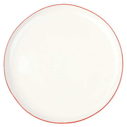 S/4 Abbesses Salad Plates, White/Red
