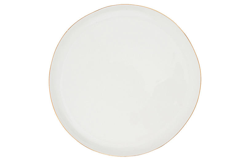 S/4 Abbesses Bread Plates, White/Gold