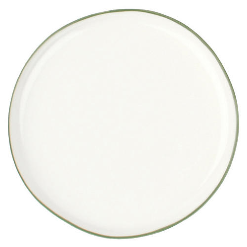 S/4 Abbesses Bread Plates, White/Green