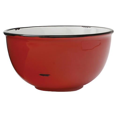 S/4 Tinware Bowls, Red/Black