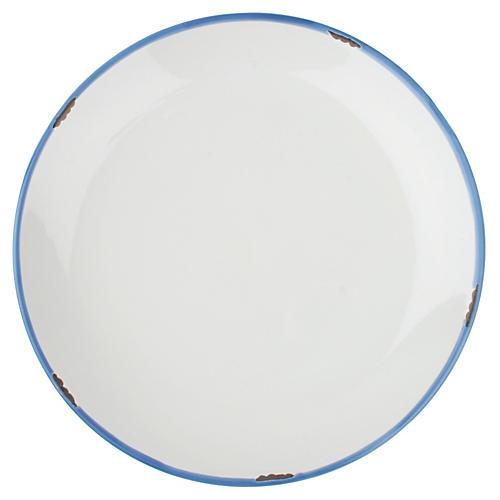 S/4 Tinware Dinner Plates, White/Blue