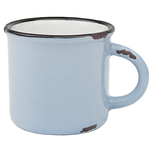 S/4 Tinware Espresso Cups, Light Blue