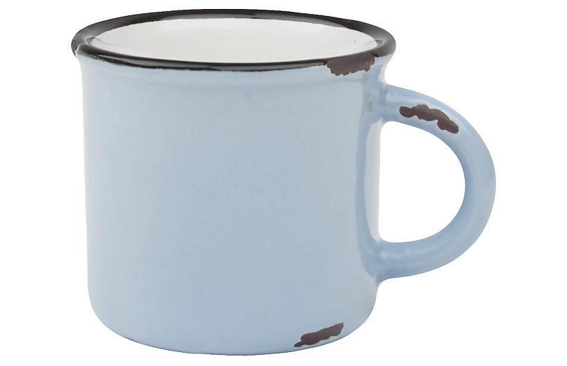 S/4 Tinware Espresso Cups, Light Blue