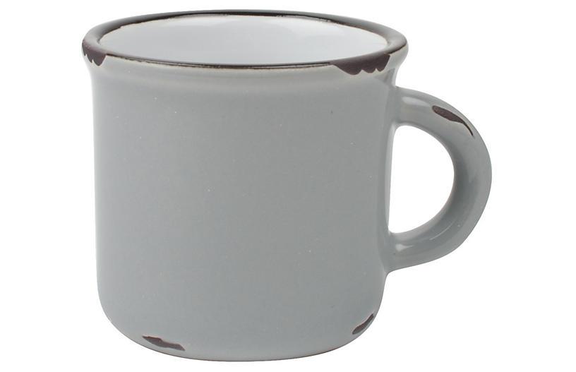 S/4 Tinware Espresso Cups, Light Gray