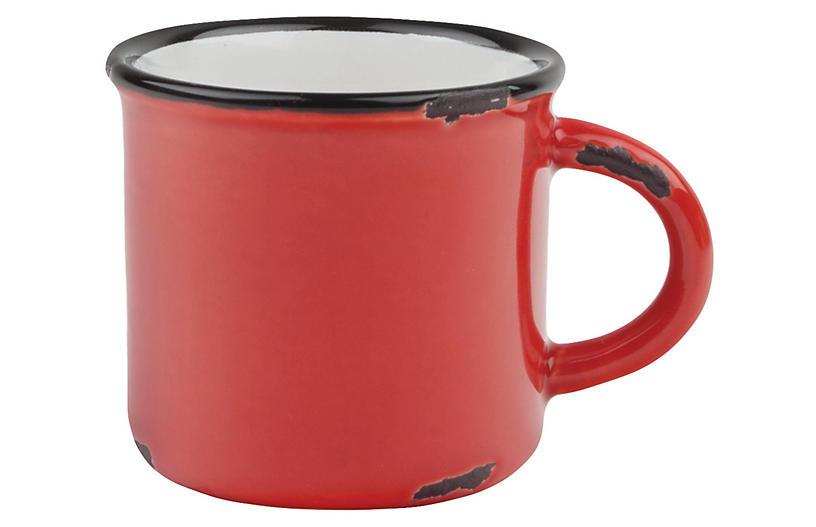 S/4 Tinware Espresso Cups, Red