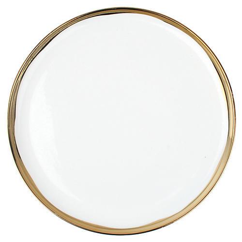 S/4 Dauville Dinner Plates, White/Gold