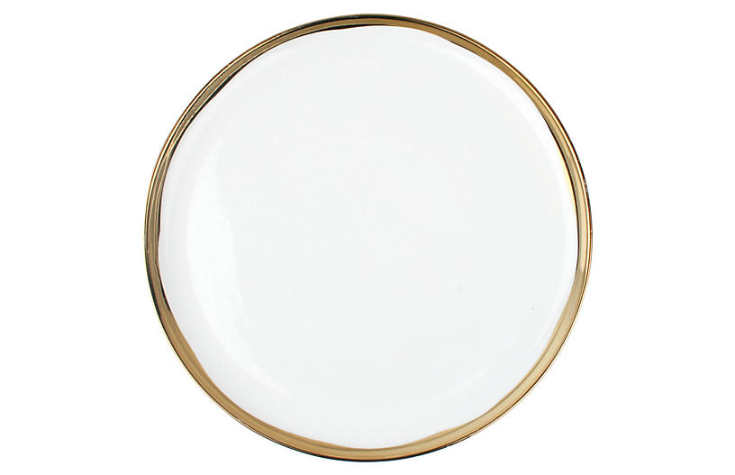S/4 Dauville Dinner Plates, White/Gold