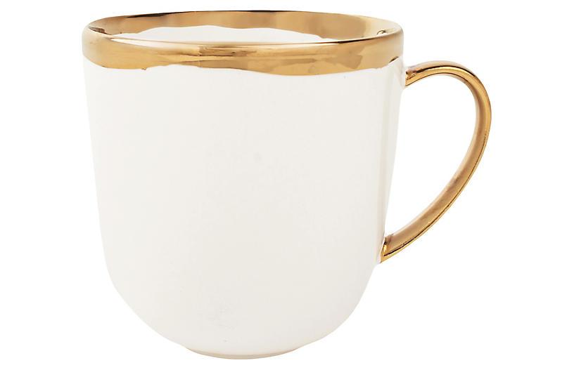 S/4 Dauville Mugs, White/Gold