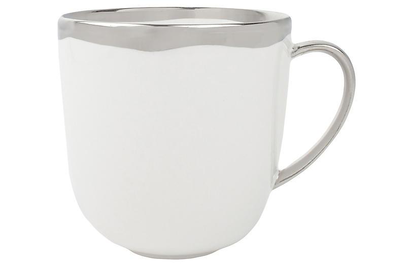 S/4 Dauville Mugs, White/Platinum