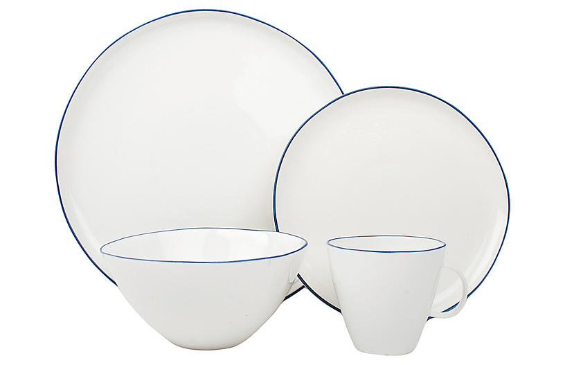 Asst. of 4 Abbesses Place Setting, White/Blue