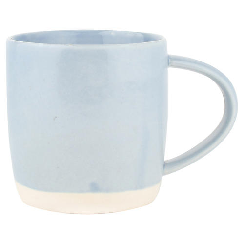 S/4 Shell Bisque Mugs, Blue