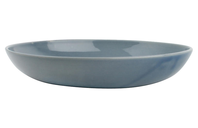 S/4 Shell Bisque Pasta Bowls, Blue