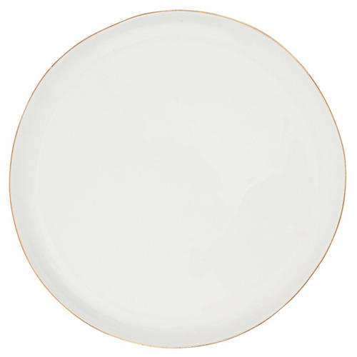 S/4 Abbesses Salad Plates, White/Gold