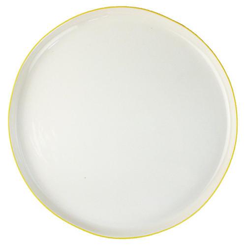 S/4 Abbesses Dinner Plates, White/Yellow