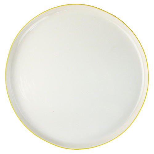 S/4 Abbesses Dinner Plates, White/Yellow