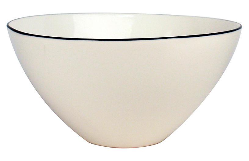 S/2 Abbesses Serving Bowls, White/Black