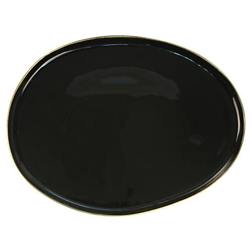 Abbesses Noir Serving Platter, Black/Gold