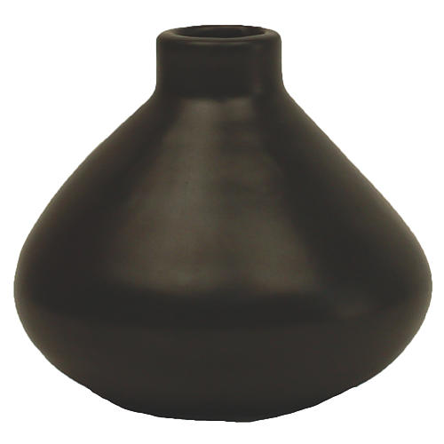 "4"" Morandi Wide Bud Vase, Black"