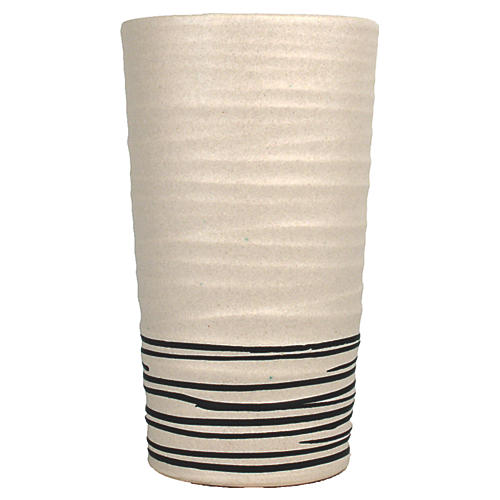 "8"" Salamanca Vase, Off-White/Black"