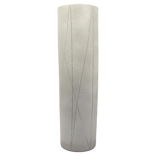 Taroudant Cylindrical Vase, White