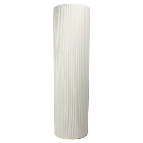 Taroudant Stripe-Textured Vase, White