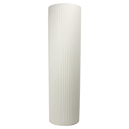 Taroudant Stripe-Textured Vase, White
