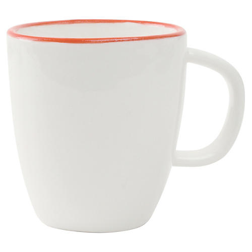 S/4 Abbesses Espresso Cups, White/Red