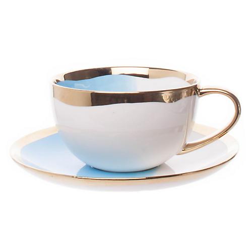 Dauville Teacup & Saucer, White/Multi