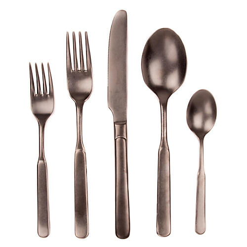 5-Pc Lucca Flatware Set, Pewter