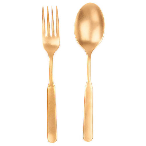 Asst. of 2 Lucca Salad Servers, Gold