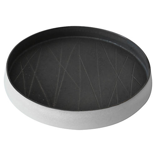 "14"" Taroudant Decorative Tray, Gunmetal/White"
