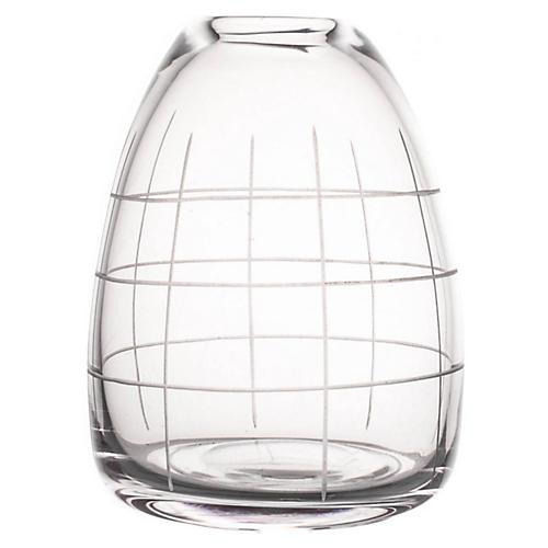 "6"" Wren Medium Grid Vase, Clear"