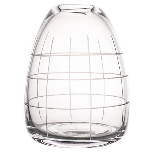 "6"" Wren Medium Grid Vase, Clear"