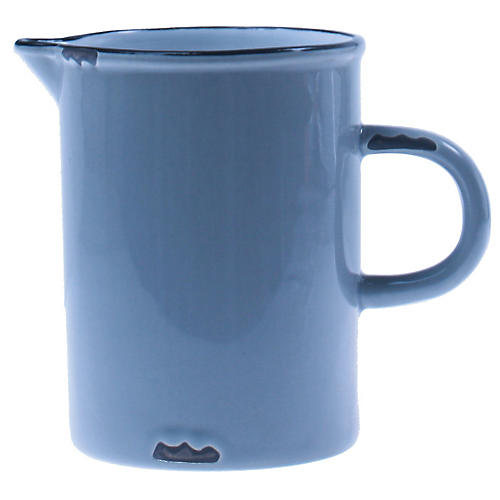 Tinware Creamer, Light Blue/Black