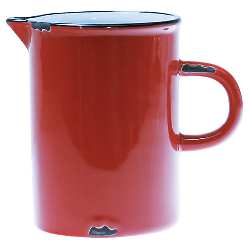 Tinware Creamer, Red/Black