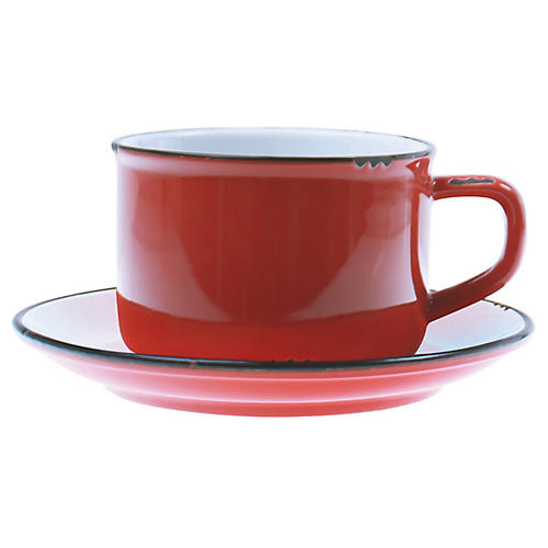 Tinware Cup & Saucer, Red