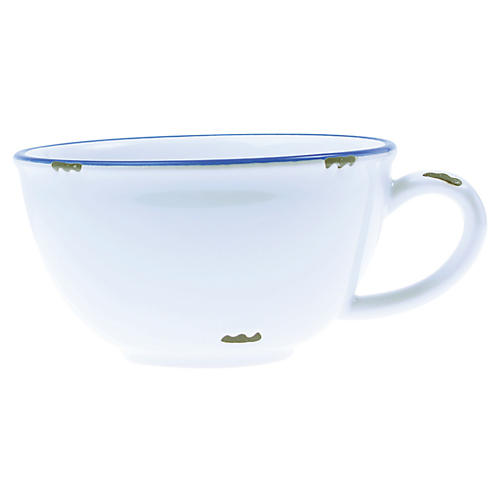 Tinware Latte Cup, White/Blue
